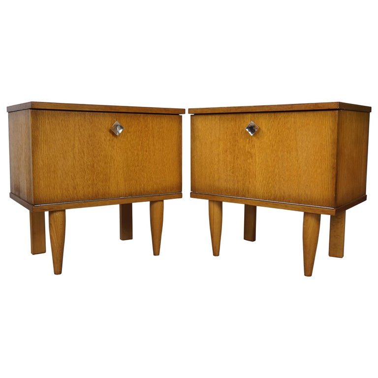 Pair of 1950s French Design Wooden Bedside Tables