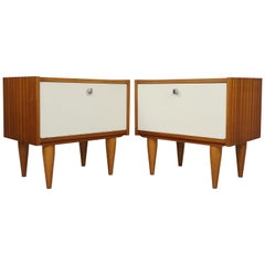 Pair of 1950s Teak and Warm White Lacquered Front Bedside Tables