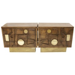 L.A Studio Brutalist Sideboard Made In Brass And Oak Wood, Italy