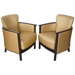 Wooden and Gold Pair of Armchairs Art Deco Style