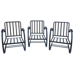 Three Vintage Wrought-Iron Patio Spring Chairs