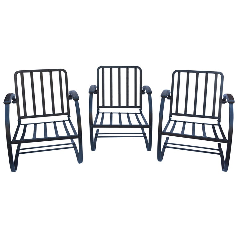 Three Vintage Wrought-Iron Patio Spring Chairs For Sale