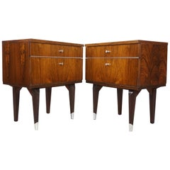 Pair of 1950s Rosewood and Chrome Bedside Tables
