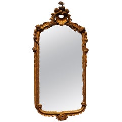 French Louis XV Period Hand-Carved Carved Giltwood Mirror