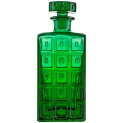 Handmade Art Glass Whisky Decanter in Emerald Green with Impressed Pattern
