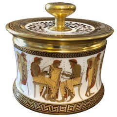Johan Seltmann Egyptian Revival Style German Round Porcelain Biscuit Box  1960