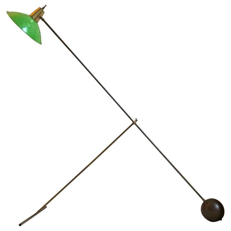 Mid-Century Modern Italian Brass and Green Metal Adjustable Floor Lamp 1950
