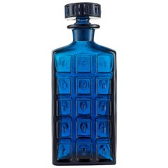 Handmade Art Glass Whisky Decanter in Cobalt Blue with Impressed Surface Design