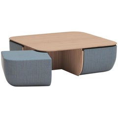 Anemos Low Dining Table or Coffee Table and Four Nesting Stools in Fabric