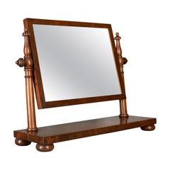 Large Antique Dressing Table Mirror, Flame Mahogany, William IV, Toilet