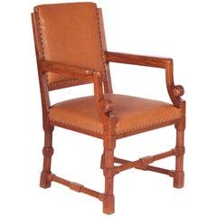 Completely Restored Oak Neo-Renaissance Armchair, New Upholstery, Shellac Polish