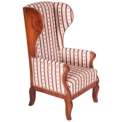 Unique Walnut Biedermeier Wing Chair, Completely Restored, New Upholstery