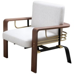 Armchair in American Walnut, Steel, Brass and Linen by Studio A