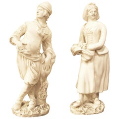 18th Century Capodimonte White Glaze Porcelain Statue Male and Female Figurines