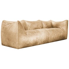 Restored Leather Le Bambole Sofa Design Mario Bellini B&B Italian