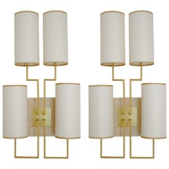 Pair of Wall Lamp Sconce in Gold Patina and White Lamp Shades