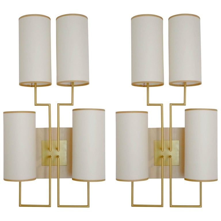 Pair Of Wall Lamp Sconce In Gold Patina And White Shades For