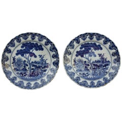 Pair of Delftware Plates, The Ewer Factory, 18th Century