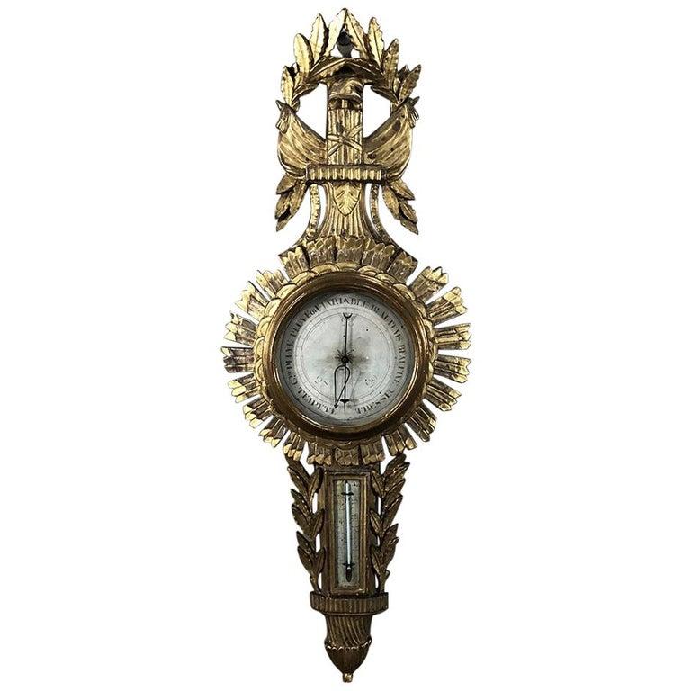 18th Century Swedish Neoclassical Giltwood Barometer, Thermometer