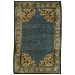 19th Century Chinese Hand-Knotted Rug Blu Beige with Stylized Spiritual Dragons
