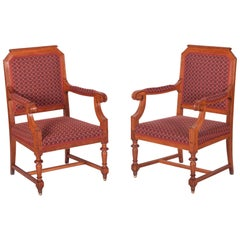 Completely Restored Pair of Oak Neo-Renaissance Armchairs, New Upholstery