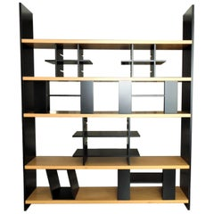 1985 Sormani Modular Bookshelf Black Lacquer Light Walnut Shelves Minimal, Italy