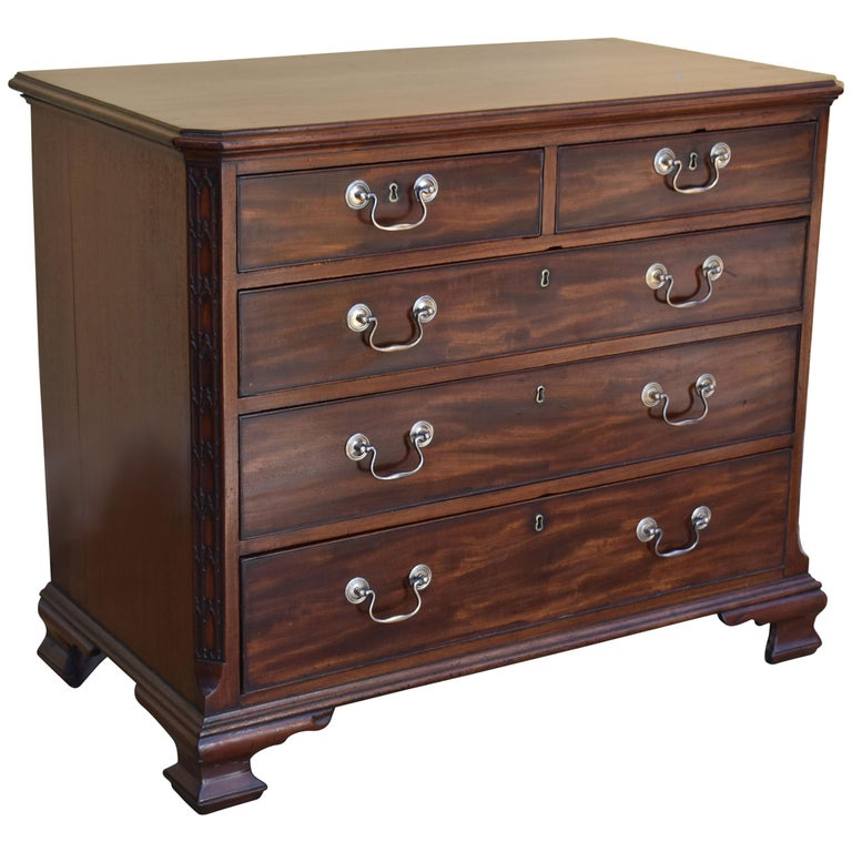 18th George III Century Chippendale Period Mahogany Chest of Drawers For Sale