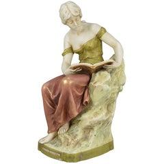 Art Nouveau Royal Dux Porcelain Figurine of a Lady Reading a Book
