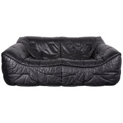 Roche Bobois Informel Leather Sofa Black Two-Seat Couch