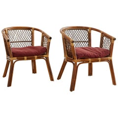 Pair of Midcentury Bamboo Rattan Barrel Chairs
