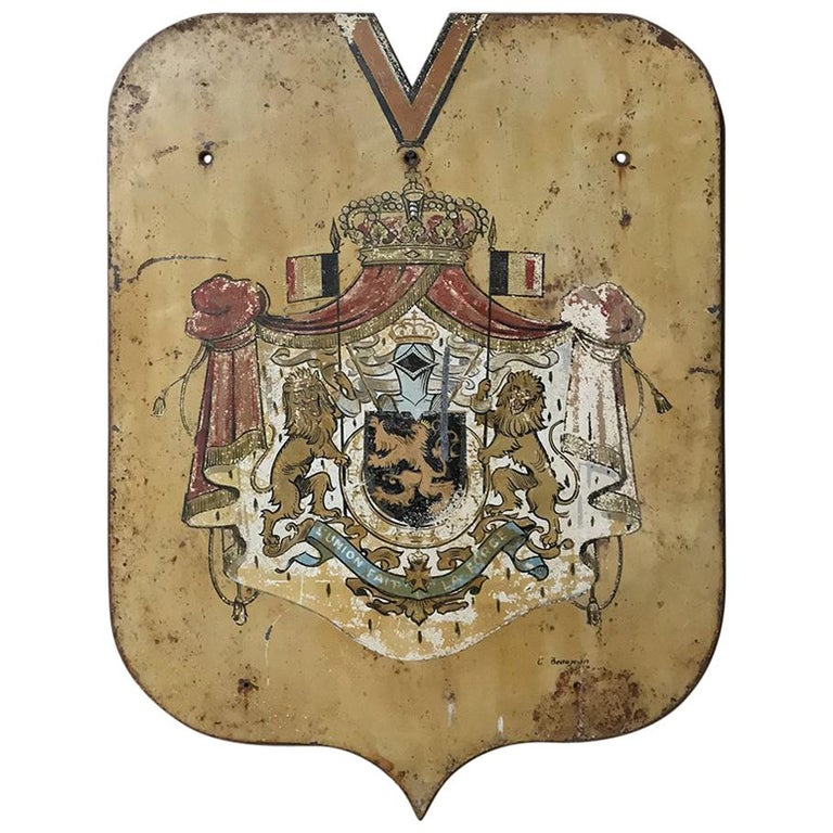 19th Century Hand-Painted French Royal Crest of Arms