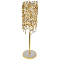 Vintage Yellow Metal Mounted Glass Designer Floor Lamp, 1970s