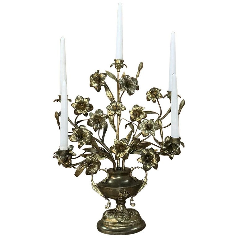 19th Century Gilt Bronze French Altar Lilies Bouquet Candelabra For Sale