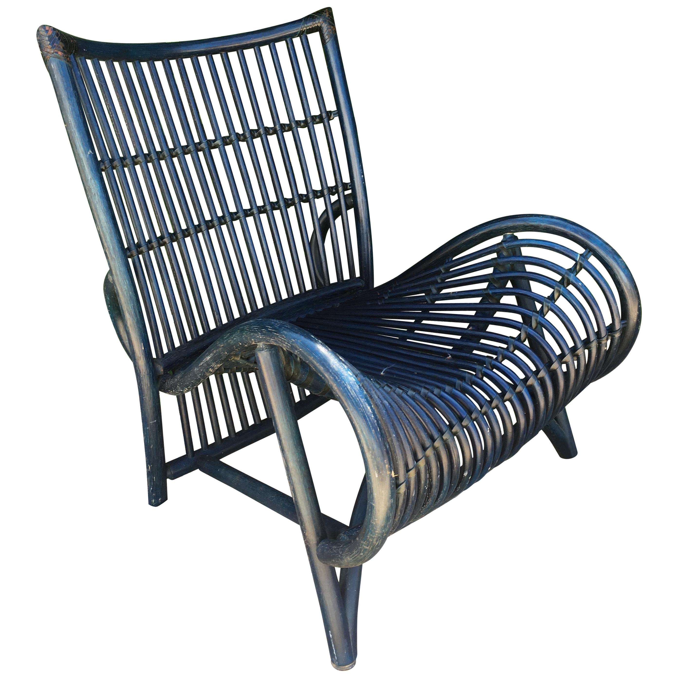 Exceptionnel Large Blue Wicker Chair