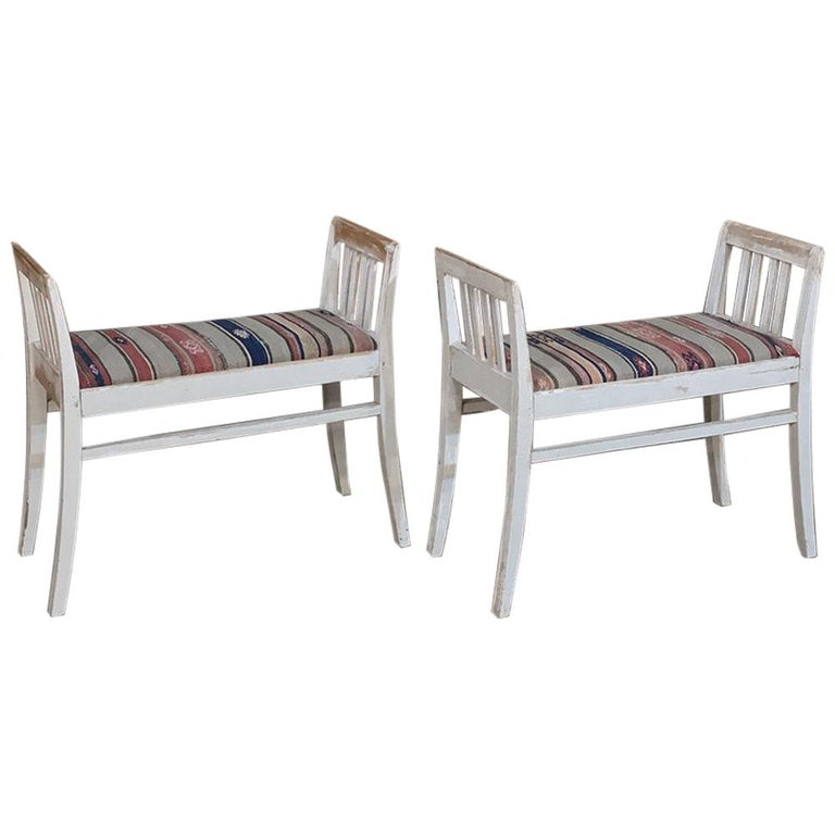 Pair of 19th Century Antique Swedish White Painted Stools with Ikat Upholstery