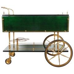 Aldo Tura Adjustable Green Parchment Bar Cart, 1960