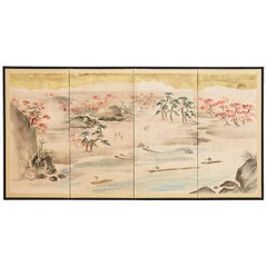Japanese Four Panel Painted Landscape Screen with Gold Leaf