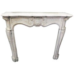 18th Century Fireplace Mantel Made of Carrara Marble