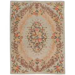 Room Size American Hooked Rug with Soft Colors, circa 1930