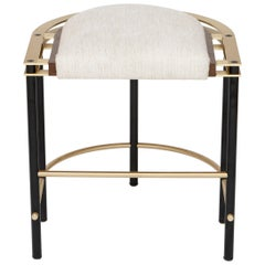 Frame Stool in Walnut, Brass, Steel and Linen by Studio A