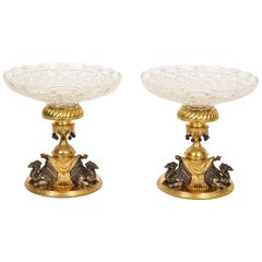Pair of English Doré & Silvered Bronze Camel Centrepieces for Orientalist Market