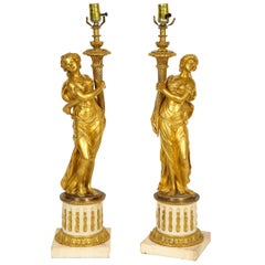 Pair of 18th Century Louis XVI Period Gilt-Bronze Figures of Maidens as Lamps