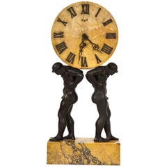 Neoclassical Patinated Bronze and Sienna Marble Hercules Clock by E. F. Caldwell