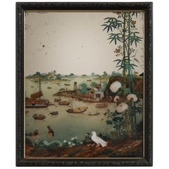 Early Chinese-Export Reverse Painted Mirror, Depicting a Chinese Harbor