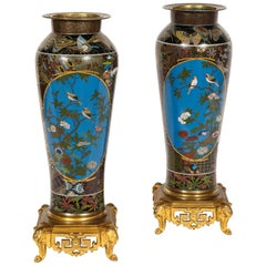 Pair of Meji Period Japanese Cloisonne Thousand Butterfly Vases, Barbedienne