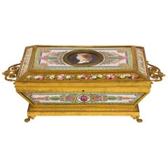 Important Empire Period Paris Porcelain & Ormolu-Mounted Casket/Box/Jewelry Box