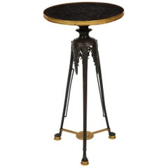 Patinated and Dore Bronze Empire/Neo-Grec French Side Table, Att. F. Barbedienne