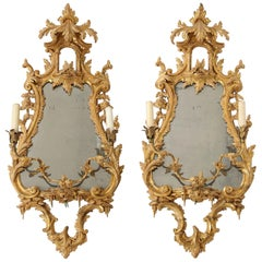 Pair of 18th Century English Giltwood Chinoiserie Mirrors with Candleholders