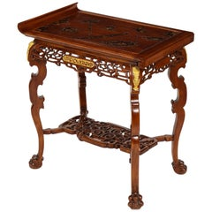 19th Century French Chinoiserie Style Mahogany Table Attributed Gabriel Viardot