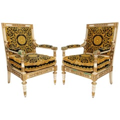 Exceptionally Magnificent Large Pair of Empire Style Versace Armchairs